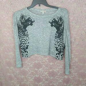 GB Brand Cheetah Graphic Cropped Sweater